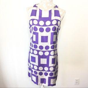 Milly of New York Silk Shift Dress Geo Print Sz. 6